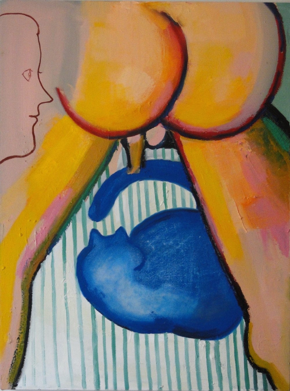 Butt and Cat oil on canvas 28 x 32 inches 2016