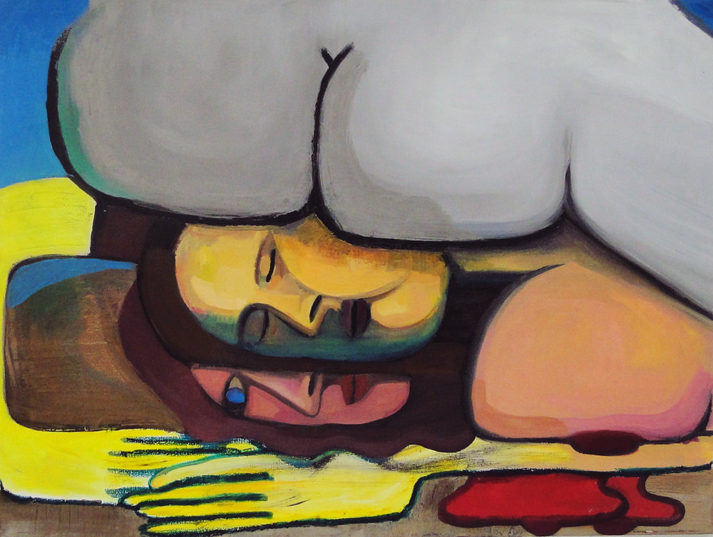Butt on Two-Face oil on canvas 48 x 36 2016