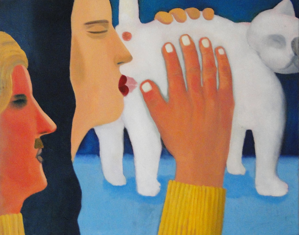Kiss on Cat oil on canvas 30 x 24 inches 2017