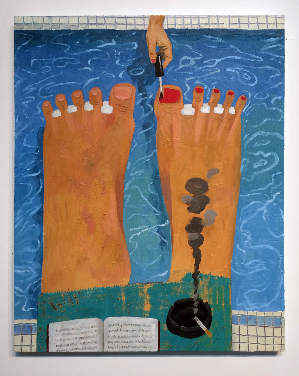 Phil's Pedicure oil on canvas, 32 x 40inches 2016