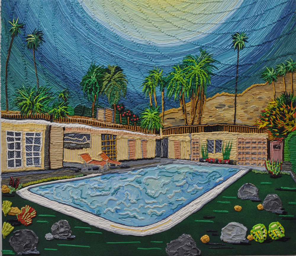 "Hockney House   oil on canvas   27 x 31""  2017"