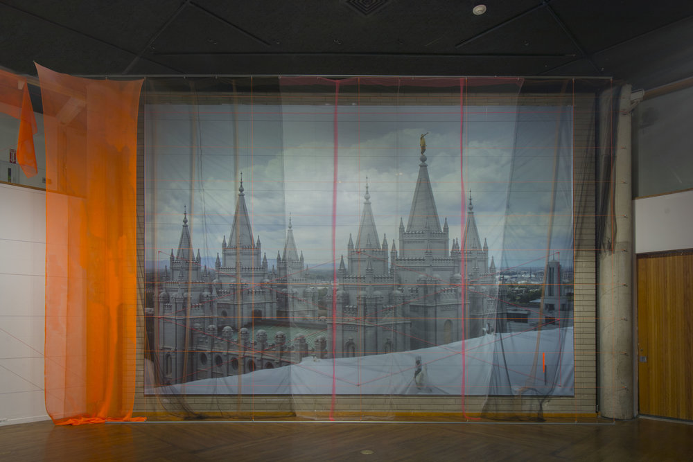 Entry  site-specific interior installation at The Utah Museum of Contemporary Art, Salt Lake City, UT   spandex mesh and tulle tapestry over photographic wallpaper with neon bungee cord, eye hooks, zip ties and thread   20 ft H x 30 ft L x 2 ft W