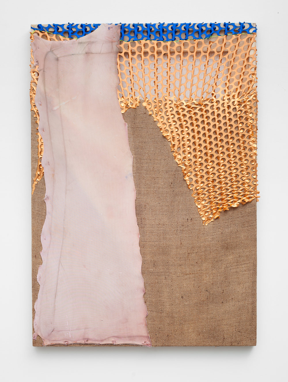 Screen   dyed neoprene, metallic spandex and thread on treated and stretched burlap over wood frame  28 x 40 inches   2016  Photo by Maggie Shannon