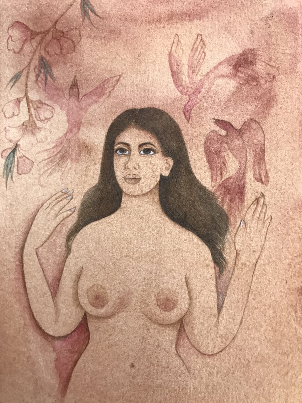 Self Portrait As Eve Naming The Birds (after Blake) watercolor and tea on paper 6 x 4 inches 2017