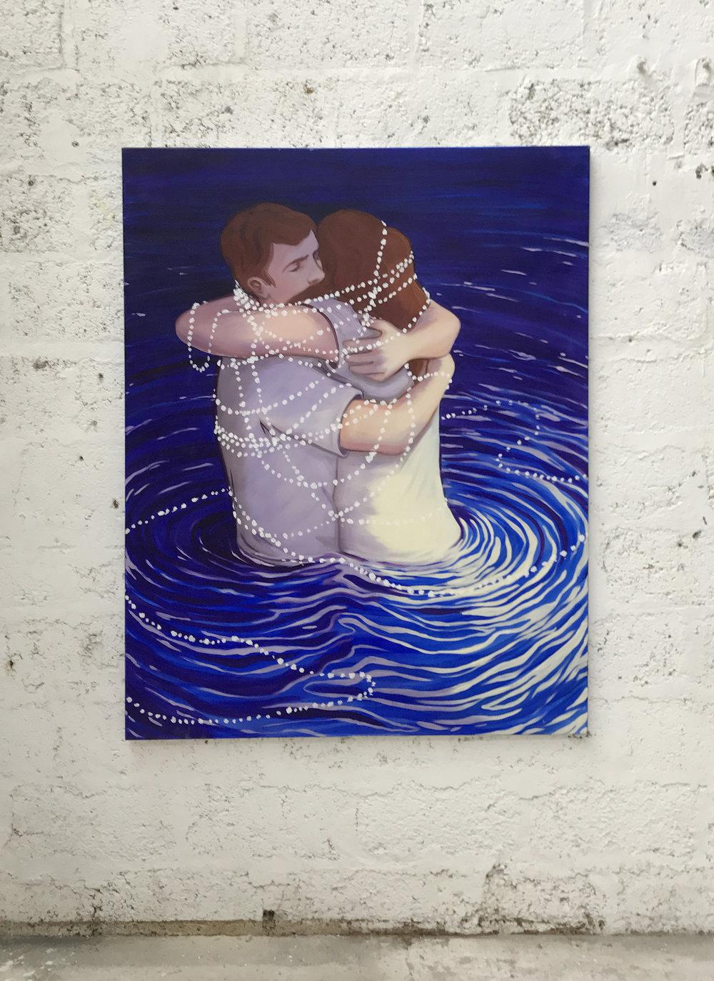 LA NECESSITE D'UN CÂLIN Oil on canvas 130 x 100 cm 2017