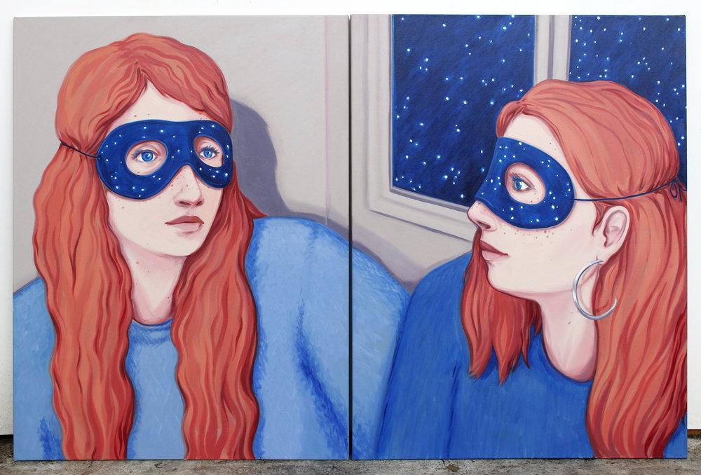 Les étoiles demeurent Oil on canvas 100x130cm 2018 (diptych)