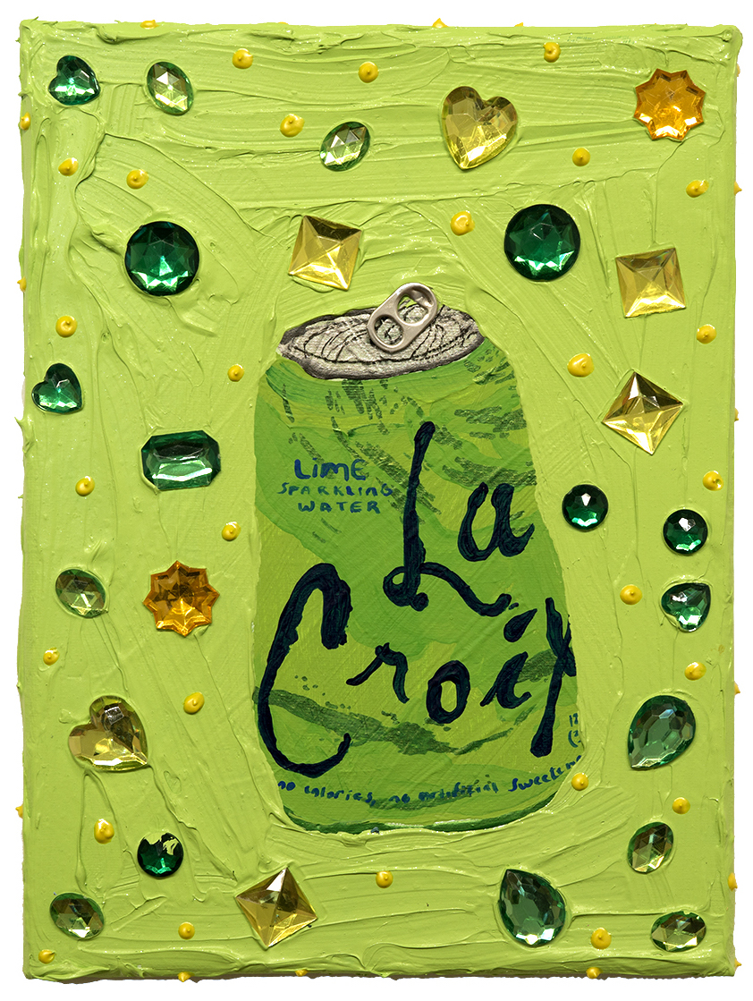 La Croix (Lime) Acrylic, glitter, gems on canvas 8 x 10 inches 2018