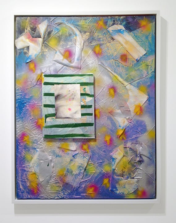 Burn Bright (No Limit) Acrylic, oil, popsicle sticks, silk, iridescent gel medium, Mylar on cavas 42 x 36 inches 2013