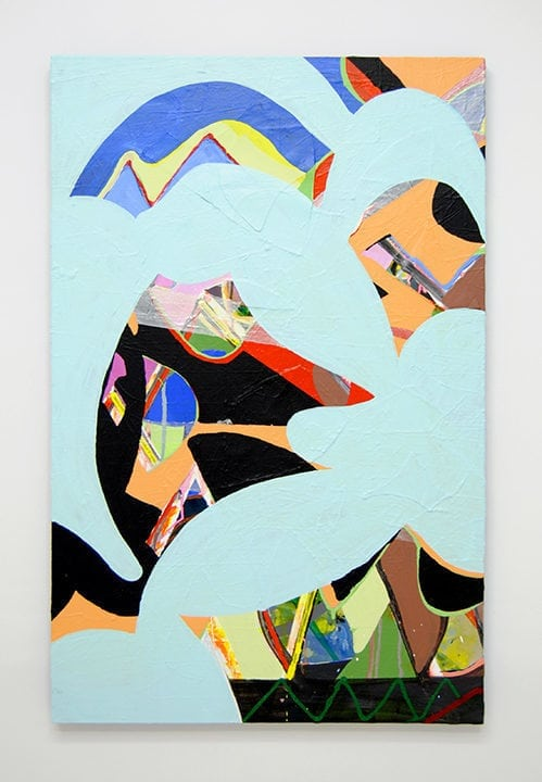 Two Birds Flashe, acrylic, enamel, ink, silk, Mylar, paper on canvas 48 x 30 inches 2016