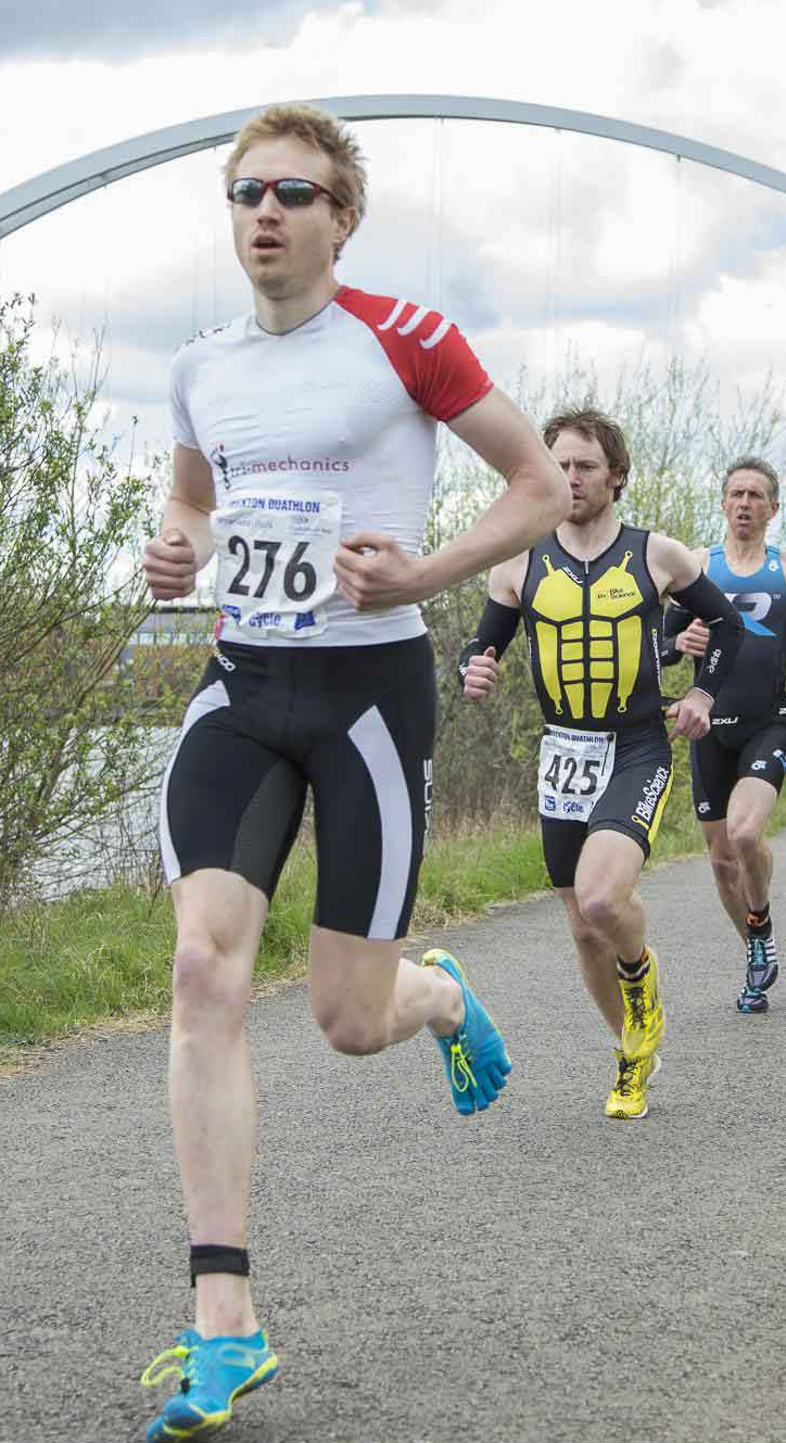 Dr Thomas Hughes competing at Stockton Duathlon