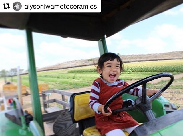 How sweet is birthday girl Aiko wearing one of our past season's corduroy jumpers? 🚜🌾