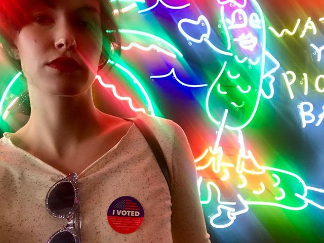 Seeing so many of these stickers is pretty great, just like exercising your right to vote! From me and this pickle. #justvoted @taylorswift 🥒