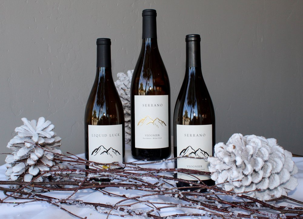 WHITE DELIGHT - $1251 Bottle of 2016 Liquid Luck1 Bottle of 2016 Viognier1 Bottle of 2017 Viognier1 Logo Corkscrew3-Bottle Collector's Wooden Box