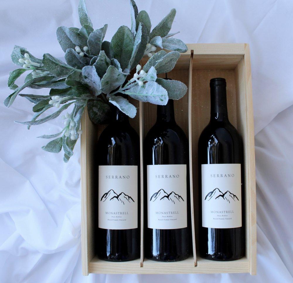 MONASTRELL & MISTLETOE - $1553 Bottles of 2016 Monastrell1 Logo Corkscrew3-Bottle Collector's Wooden Box