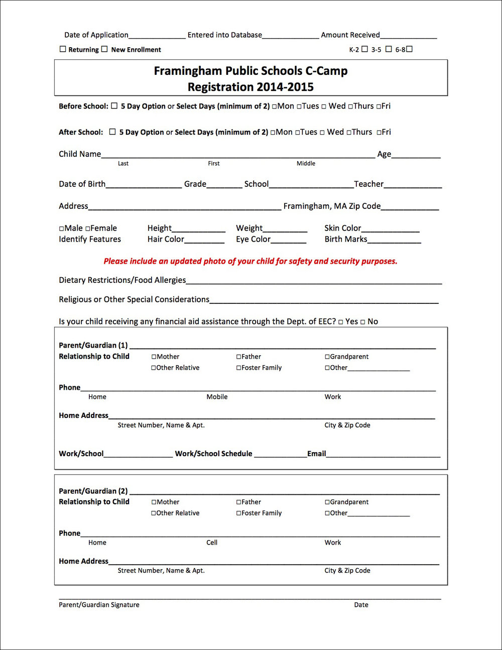 Registration Form – Before
