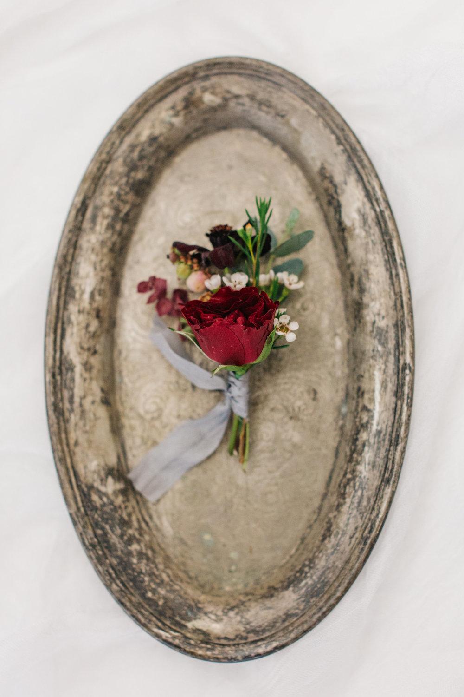 Burgundy Grooms Boutonierre - Mila Adams - Utah & Kentucky Wedding Florist