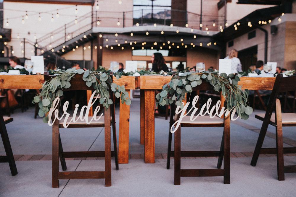 Mila Adams Kentucky Utah Destination Wedding Florist Bride & Groom Greenery Sign