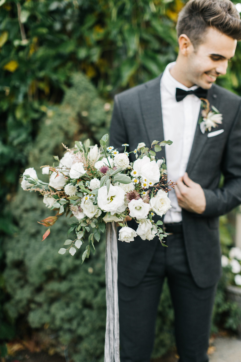Mila Adams - Kentucky Utah Wedding Florist - Groom White Wedding Bouquet Garden Style