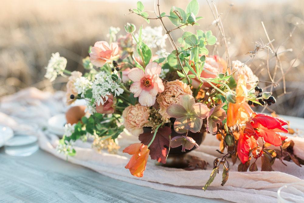 Mila Adams Orange Pink Wildflower Centerpiece Wedding Flowers in Louisville Kentucky