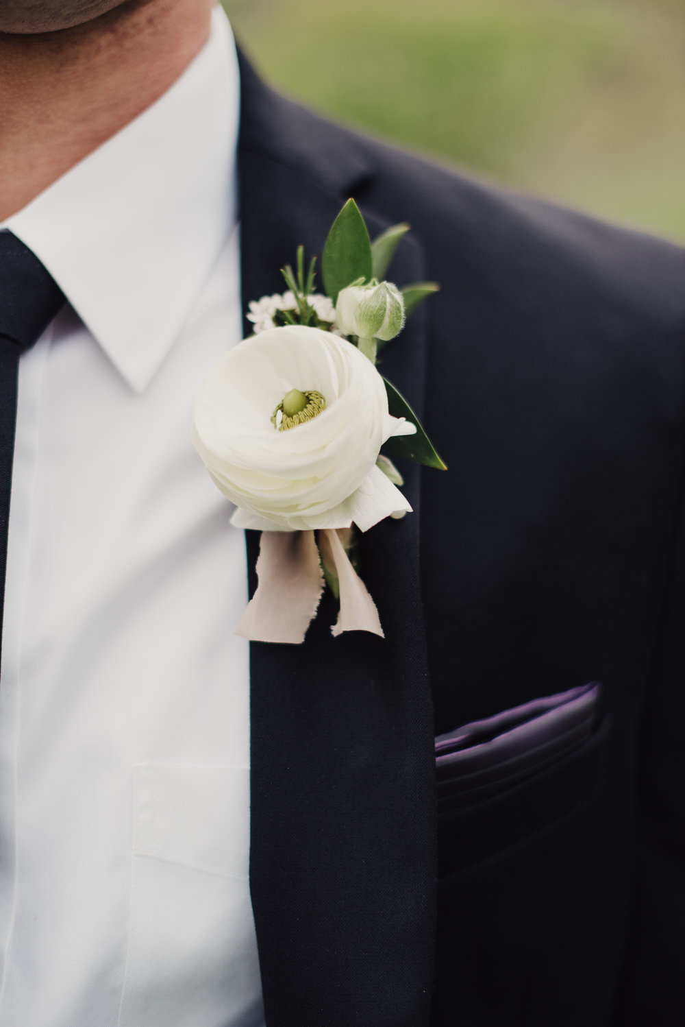Mila Adams Lexington Wedding Florist White Ranunculus Groom Boutonniere