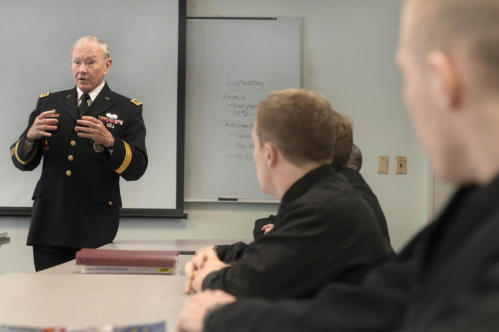 General Martin E. Dempsey, chairman of the Joint Chiefs of Staff, teaches a class on ethics to midshipmen during his visit to the U.S. Naval Academy, 2014.