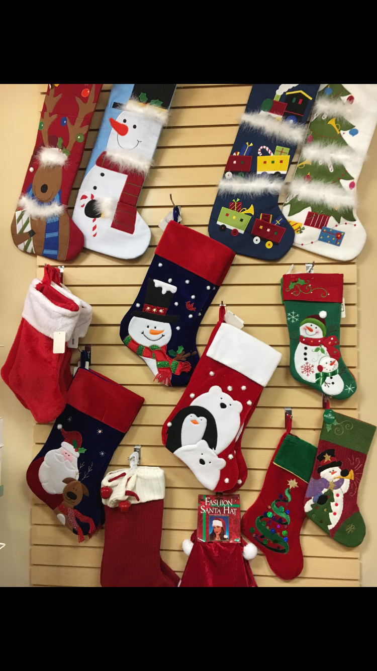 Stockings Wide selection of Christmas stockings that we embroider in-house. We are also able to embroider your name on your own personal stockings!
