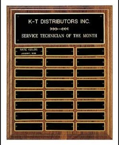 24 Plate Perpetual Plaque Solid American Walnut 24 Plate Perpetual Plaque Measures 12″ X 15″ Price of $150.00 does not include engraving. Cost to engrave each individual plate is $10