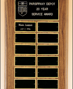12 Plate Perpetual Plaque Solid American Walnut with 12 individual plates. Measures 11″ x 15″ Price of $135.00 does not include engraving. Cost to engrave each individual plate is $10
