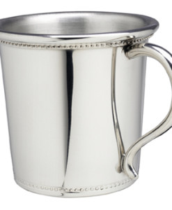 "Pewter Beaded Baby Cup American-made Pewter baby cup. This beaded design has classic lines and is one of our best selling pewter cups.  Pewter does not tarnish so this baby cup won't require polishing and will stay shiny forever.   Comes in a nice gift box and measures 2 5/8″ x 2 ¾"" diameter. Price of $59.00 does not include engraving. Recommended engraving is a 3-letter monogram or name along with a date."