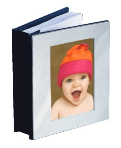 Chrome Open Front Baby Album   Chrome album holds 100 4×6 photos and has a photo holder on front. What's nice about chrome is that it doesn't tarnish and therefore doesn't require polishing.  Specify horizontal or vertical orientation for engraving. Price of $33.00 does not include engraving.