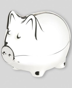 "Classic Nickelplate Piggy Bank (Small) How can you go wrong with a piggy bank? Nickel plated for a non-tarnish – but still shiny – finish, and 3″ x 3¾"" long, this is the small-sized version of the classic pig bank. Appropriate for kids of any age, this will be a remembered gift for years to come. Price of $24.00 does not include engraving Recommended engraving location is on the body with the pig's snout facing to the left. Popular engraved message is child's first name."