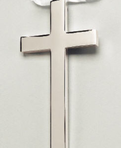 "Silverplate Cross Great baptism or christening gift. Comes in a velvet-lined box. White ribbon allows wall hanging. Silver plated with a non tarnish finish will stay shiny for a long time without requiring polishing. Measures 4¾"" x 2¼"". Price of $24.00 does not include engraving."