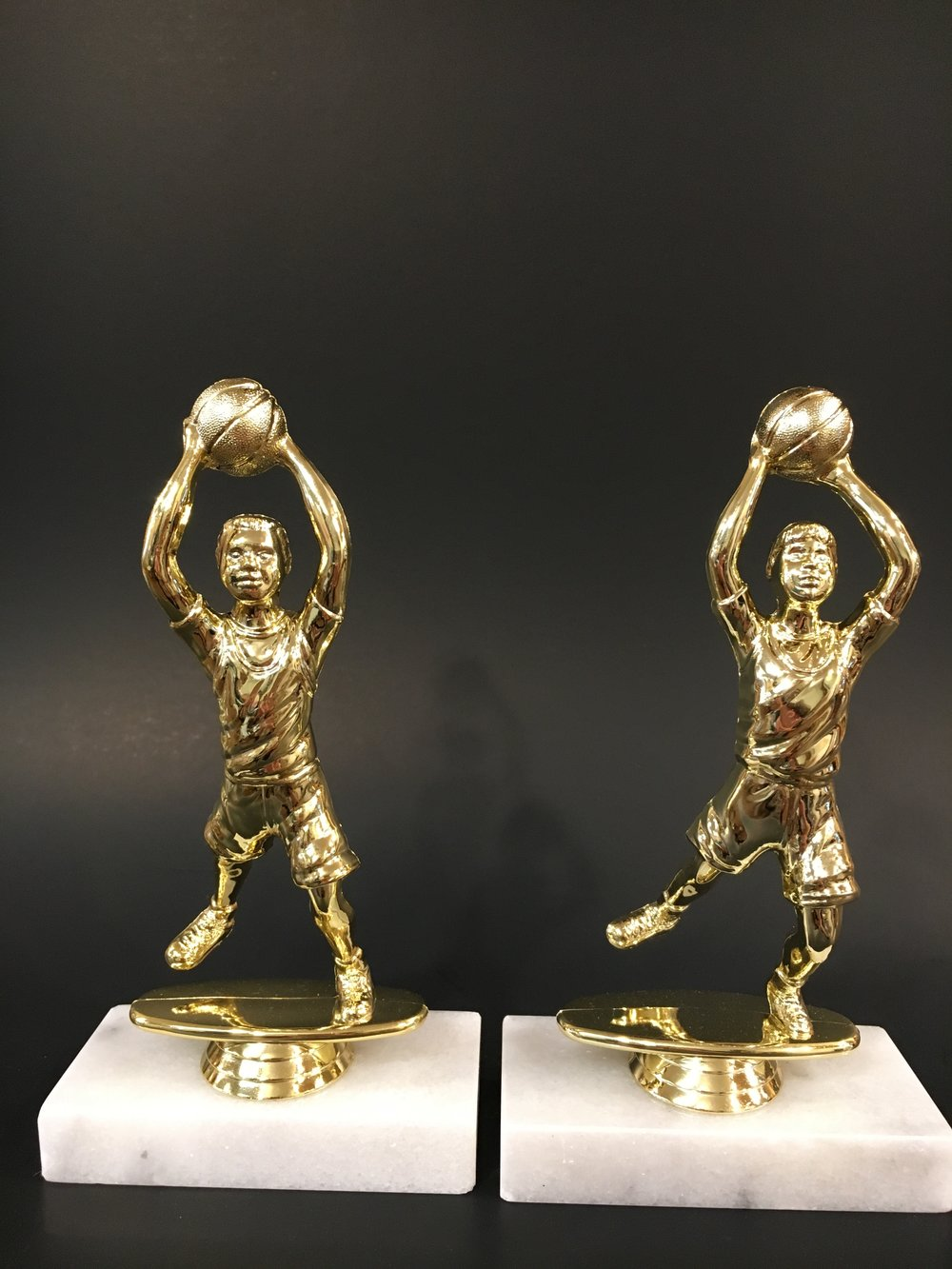 "6"" Male and Female Kid Basketball on Marble Base"