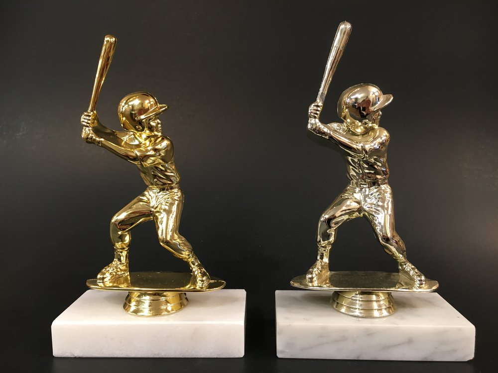 "6"" Male and Female Baseball on Marble Base"