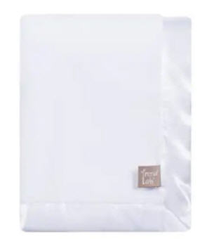 White Plush Blanket (#990)   Wrap your little one in soft luxury with this White Plush Baby Blanket by Trend Lab. The super soft blanket is solid white with a white satin frame. Blanket measures 30 in x 40 in. Price of $32.95 does not include embroidery.