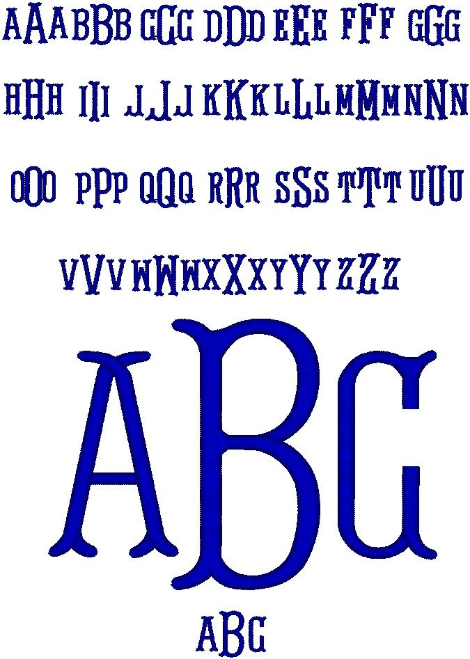 Serif Monogram - Click to see all of the characters. I would avoid using L's and J's with this font