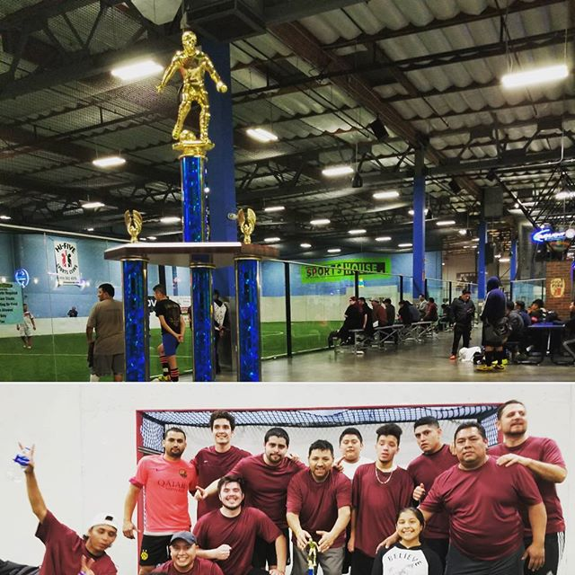 Corporate League Champions get to take home the trophy! * * * * #sportshouserc #sportshouseindoorsports #indoorsoccer #redwoodcity #champions #corporatesoccer #winners #wednesdaynightsoccer #soccerjersey