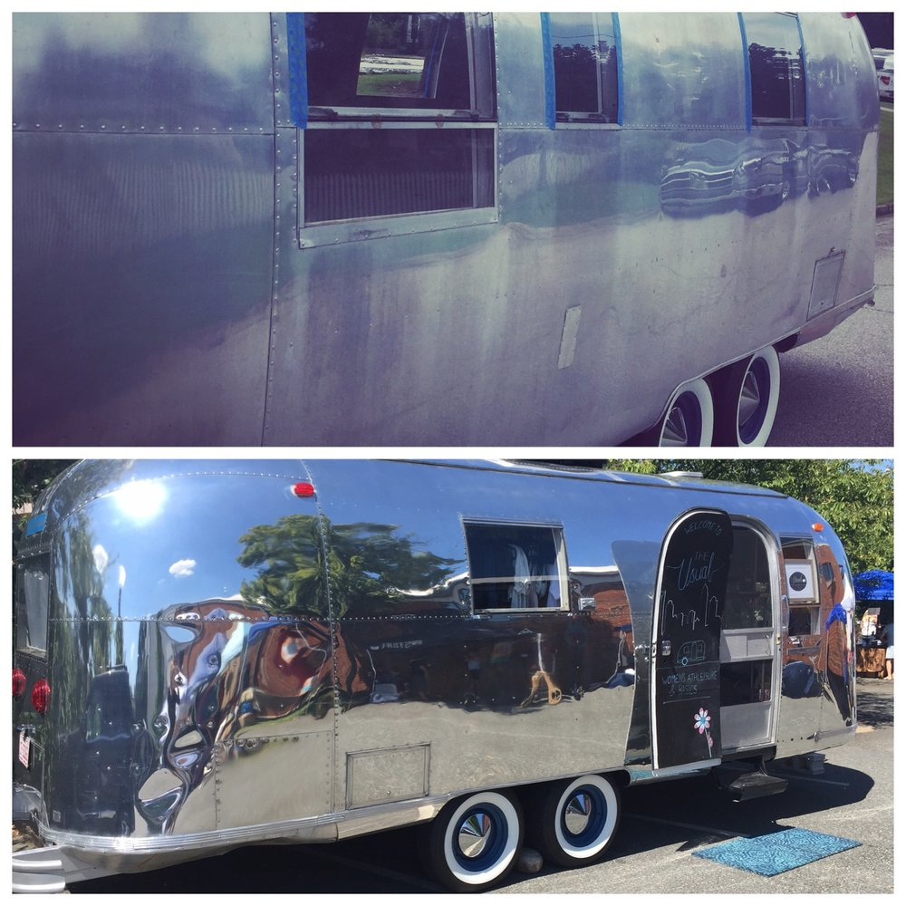 "With the inside complete it was time for Silvy D to get her shine back.  After much research and discovering that the polishing would take around 180 hours, we knew this was one job we couldn't take on ourselves.  So we found Tim, who we like to call ""the airstream whisperer."" Silvy D went to Tim's airstream polishing(AKA Shine camp) and he literally turned back the hands of time.  And now the true journey begins...                                              ""  Life is a journey not a destination.""  - Ralph Waldo Emerson"