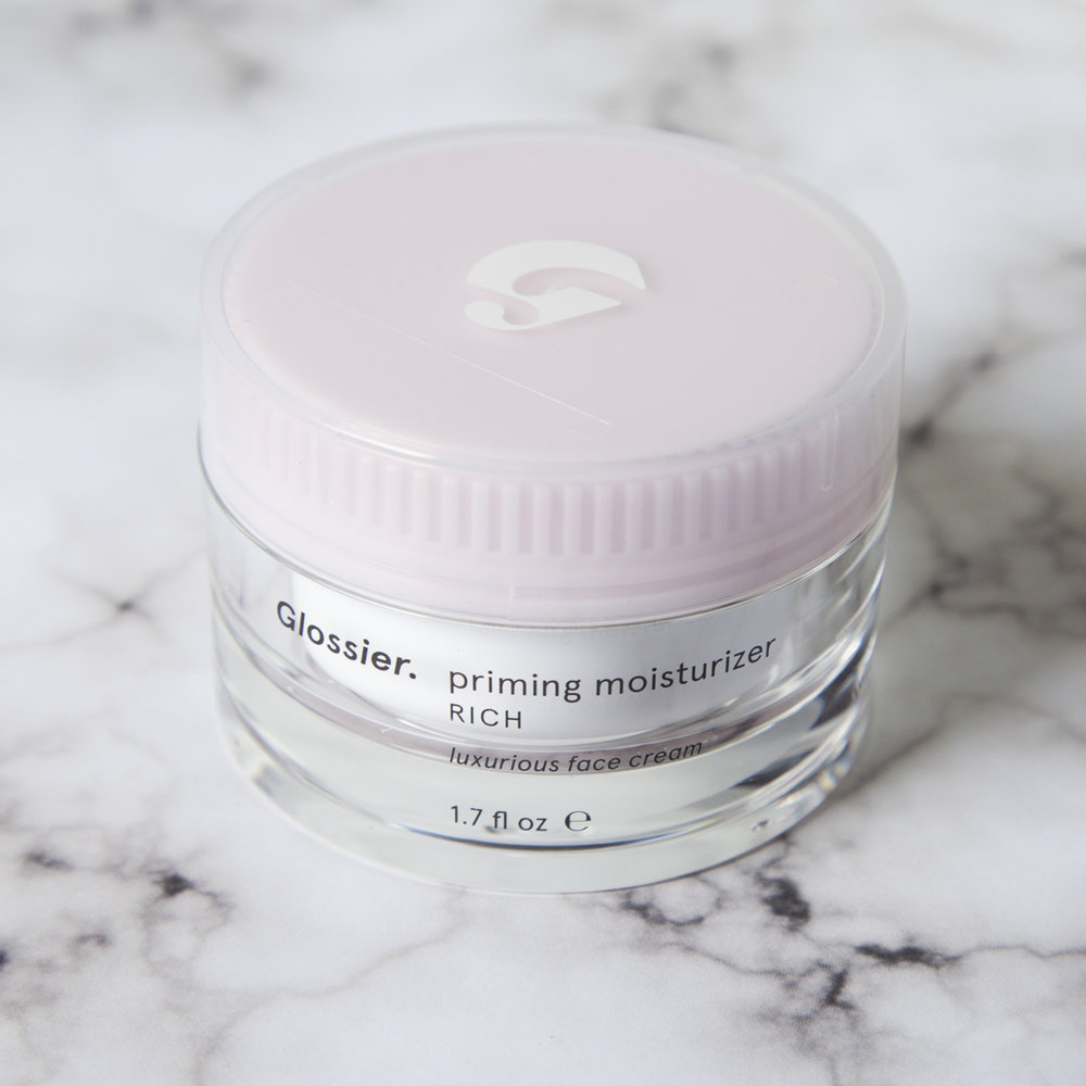 Glossier Priming Moisturizer Rich   This product has a bit of a cult following and now that I've tried it I can definitely see why. It very rich, which is fantastic for my mega dry skin, but doesn't feel heavy at all. My makeup goes on over this so much more smoothly than it did with the   Clarins Multi-Active Day Cream   which would sometimes bunch up and crumble if I applied too much. I'm not usually a repeat offender with many beauty products, if you can't tell I love to try out different things, but this might be my new go-to daytime moisturizer because of how well it is working for me thus far. I used a 20% off welcome code on this and got it for $28 but it goes for $35 which is a lot cheaper than a lot of the other moisturizers I've tried out so it's a win-win.