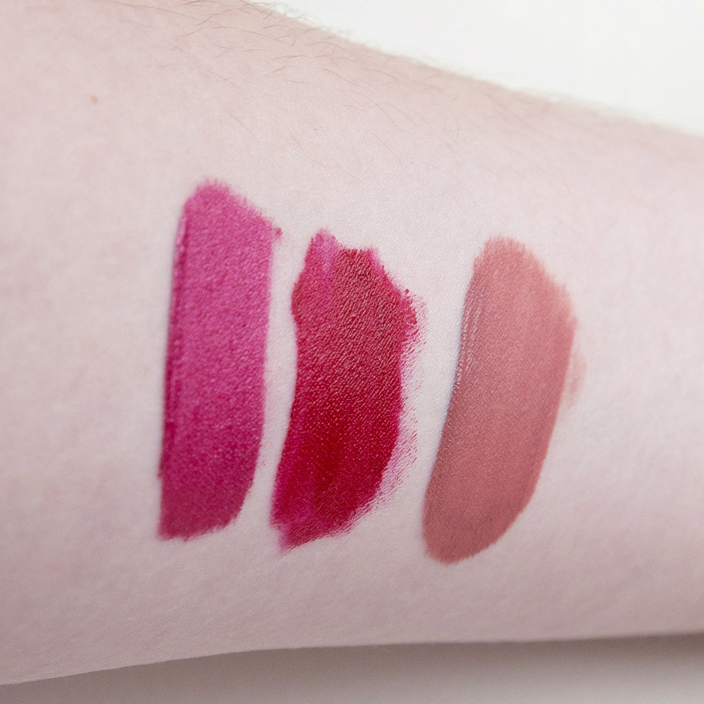 Some arm swatches for good measure; L-R Ofra Cosmetics Long Lasting Liquid Lipstick in Santorini, Charlotte Tilbury Hollywood Lips in Screen Siren & TheBalm Meet Matt(e) Hughes in Committed.