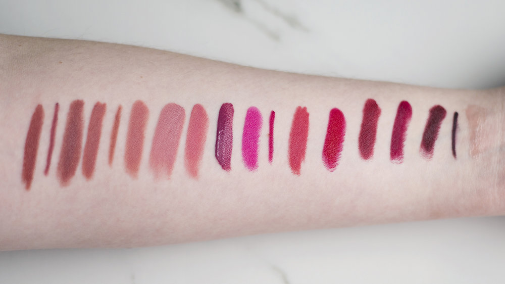 From L-R: Amuse Bouche Lipstick in Chai, The Lip Pencil in 034, Matte Crème Lip Crayon in Glacé, Matte Crème Lip Crayon in Léché, The Lip Pencil in 022, Amuse Bouche Lipstick in Meringue, Amuse Bouche Lipstick in Sugarcane, Amuse Bouche Lipstick in Fig, Amuse Bouche Liquified Lipstick in Mauvember, Amuse Bouche Lipstick in Kimchi, The Lip Pencil in 096, Matte Crème Lip Crayon in Sucré, Amuse Bouche Lipstick in Gazpacho, High Pigment Pencil in Bramble, Amuse Bouche Lipstick in Beetroot, Amuse Bouche Lipstick in Liquorice, The Lip Pencil in 048 and Agave Lip Mask in Champagne.