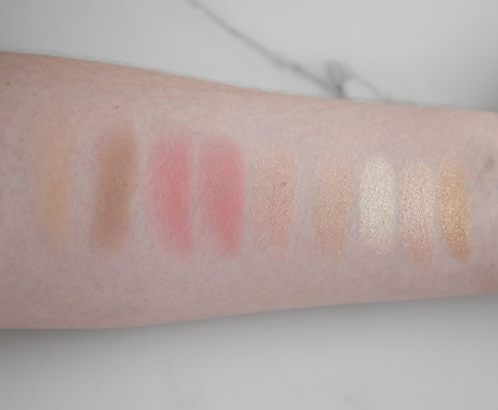 L-R; Glowing Pretty Skin Palette shades Powder, Bronze & Contour, Pretty Blush, Summer Blush, Glow 1, Glow 2, Bar of Gold Palette shades Original Bar of Gold, Rose Gold and Gold Bouillon