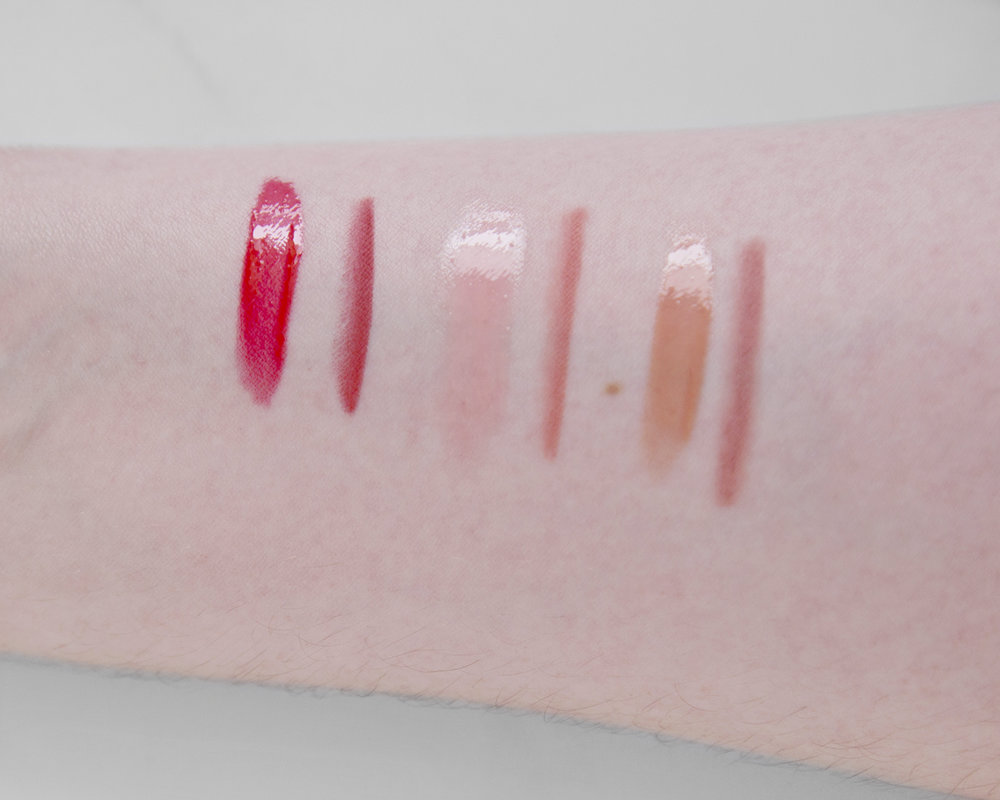 L-R: Red Vixen Lip Lustre, Savage Rose Lip Cheat, Potobello Girl Lip Lustre, Pink Venus Lip Cheat, Seduction Lip Lustre and Pillow Talk Lip Cheat
