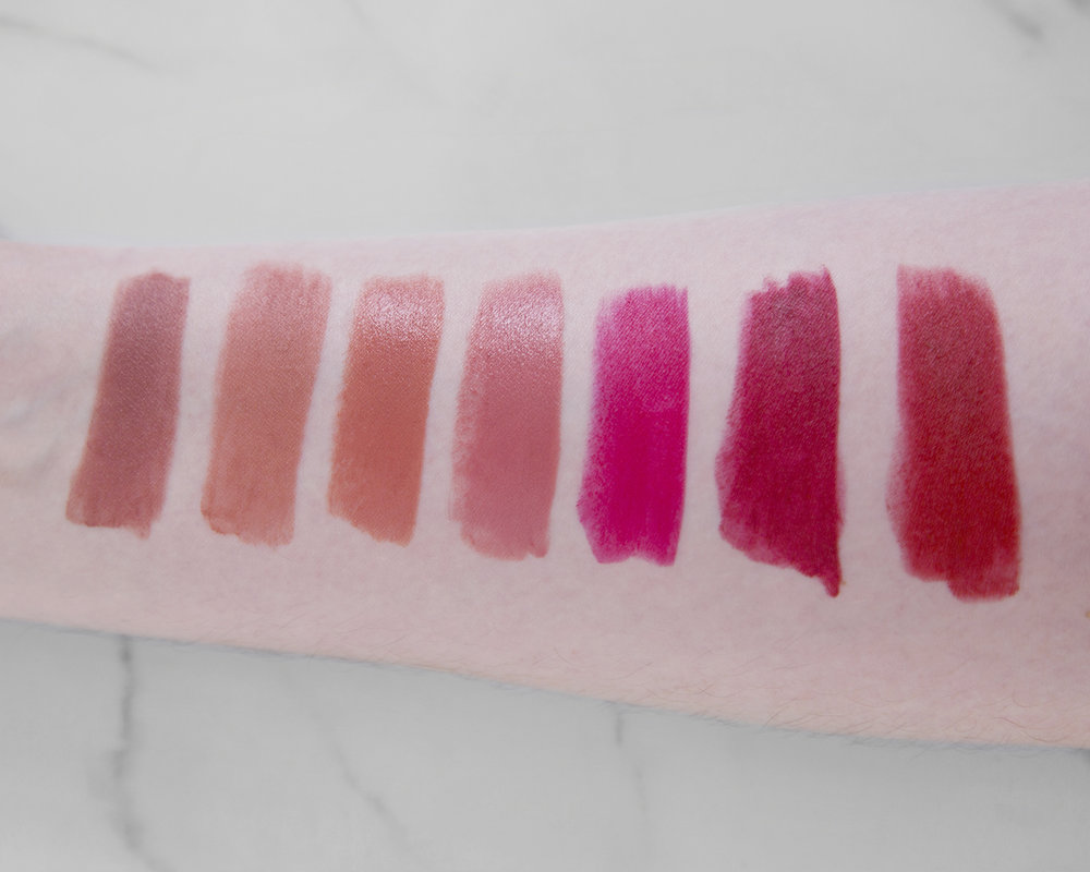 L-R: Matte Revolution Very Victoria (included for comparison sake), English Beauty, American Sweetheart, The Duchess, The Queen, Shanghai Nights, & Legendary Queen