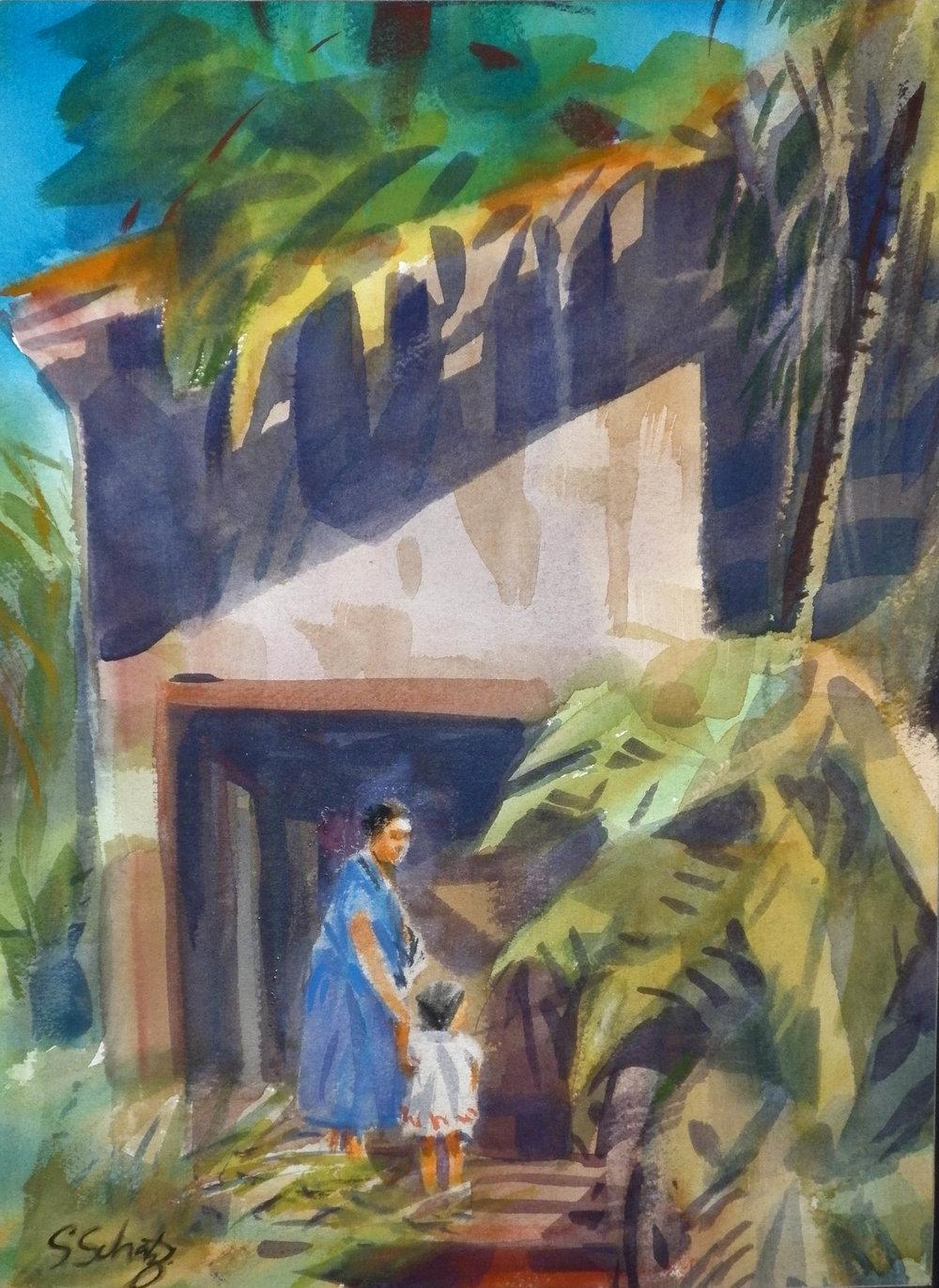 entrance - watercolour 5x7
