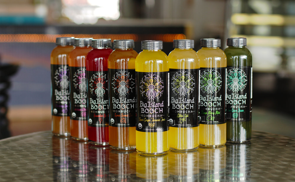 The rebranding was multi-faceted. Labels were completely revamped, a newly-shaped custom glass bottle was introduced, and a fresh USDA Organic seal of certification now adorns the products.  We launched with 8 initial kombucha products. Labels were printed on metallic material, giving a great elemental feel and dynamic pop to each flavor color and accent graphics.