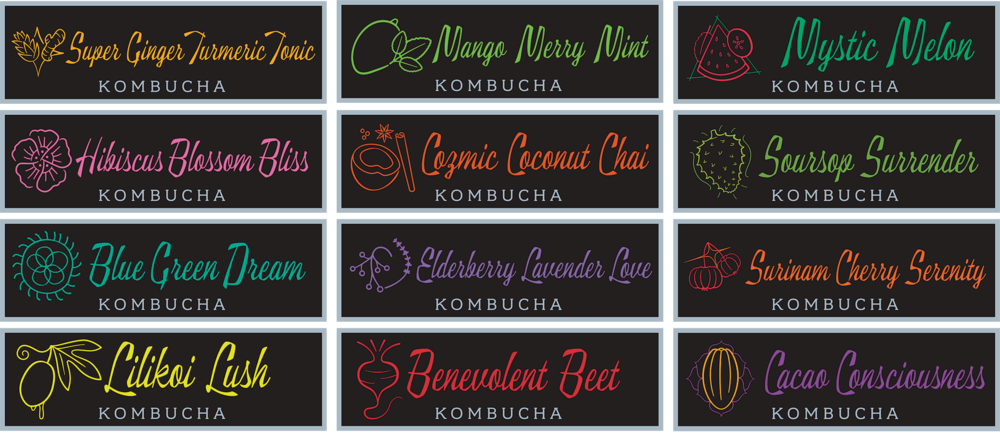 The rebrand of bottled kombucha launched with 8 flavors. However, Big Island Booch offers 12 flavors of kombucha and counting locally at its restaurant, Conscious Culture Café, and at on-tap partner locations. Each product features its own signature colors and iconography.