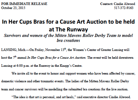 In Her Cups Bras for a Cause Press Release