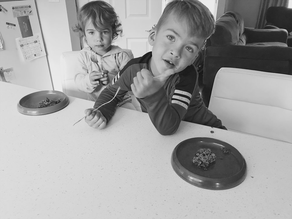 Eating theirs still warm, Peppa didn't distract enough. Forks are less needed when they've cooled down.