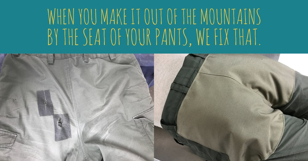 Butt patch panel custom built from 500 denier Cordura® nylon to repair tears in the seat of these pants.